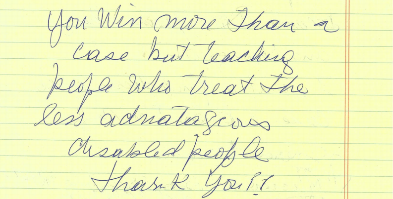 Handwritten note from client, text copied below.