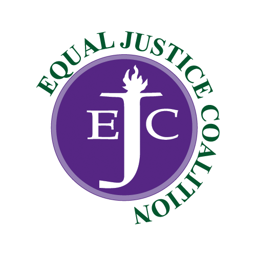 Logo for the Equal Justice Coalition, featuring a purple circle with the letters EJC in the center and the J is a torch.