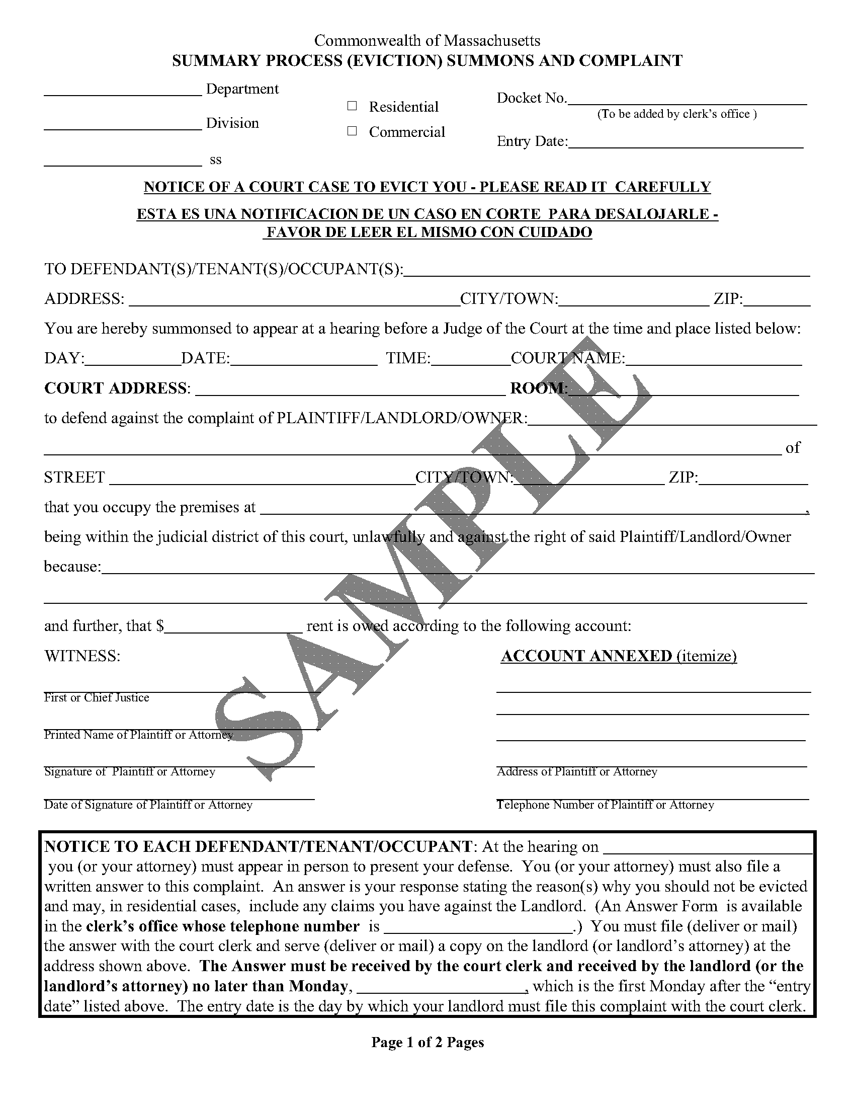 picture of a sample Summons and Complaint