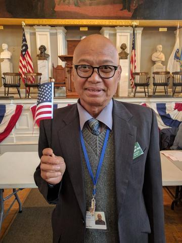 Immigrant man with flag